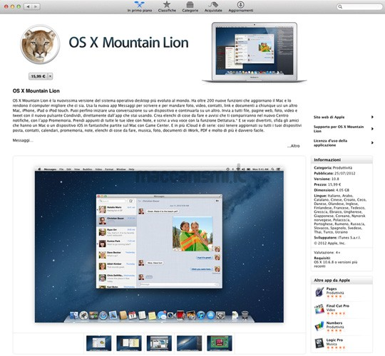 OS X Mountain Lion - Mac App Store Buy