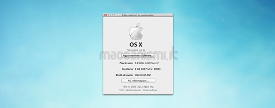 OS X Mountain Lion - Versione 10.8