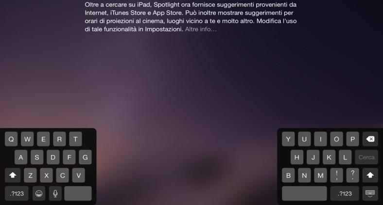 Tastiera iPad divisa, separata o spostata dalla base