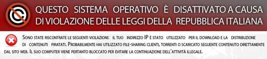 Virus questo sistema operativo è disattivato a causa di violazione delle leggi della repubblica italiana