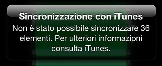 Errore sincronizzazione con iTunes