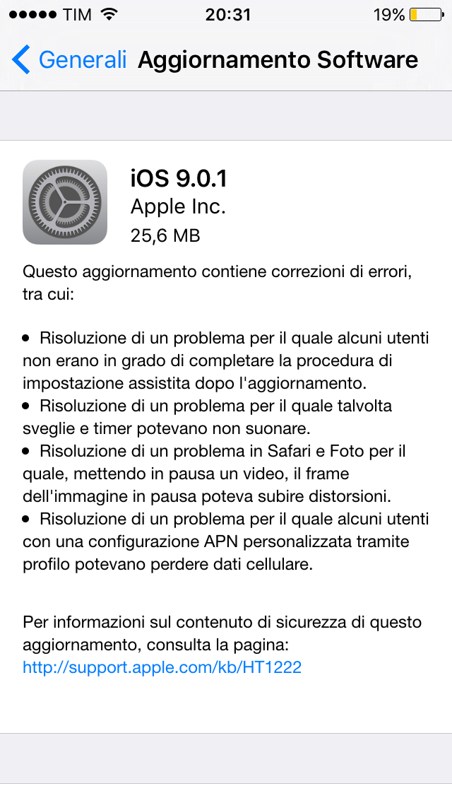 Upgrade iOS 9.0.1