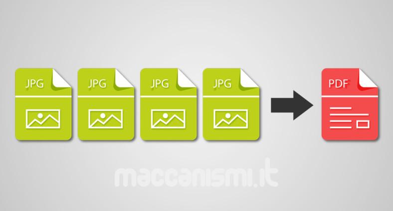 Convertire scansioni immagini JPG in un unico file PDF