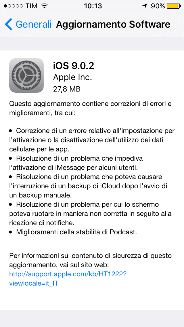 Upgrade iOS 9.0.2