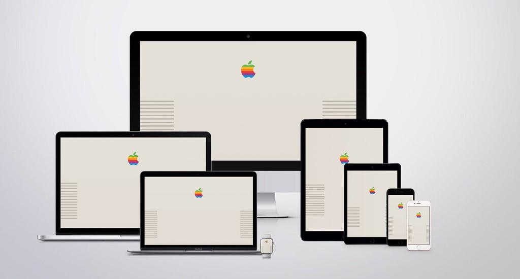 Retro Apple Wallpaper: mela arcobaleno per iPhone, iPad e Mac