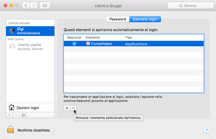 Elementi Login iTunesHelper