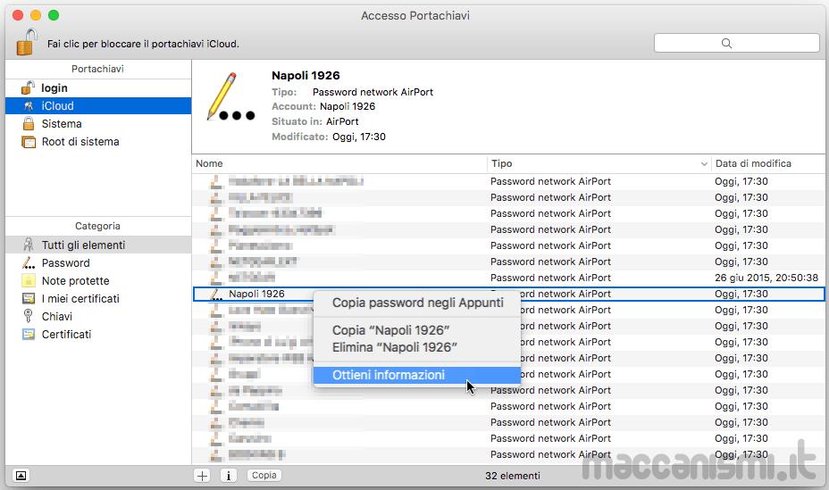 Accesso Portachiavi iCloud Mac OS X - Password Reti Wi-Fi