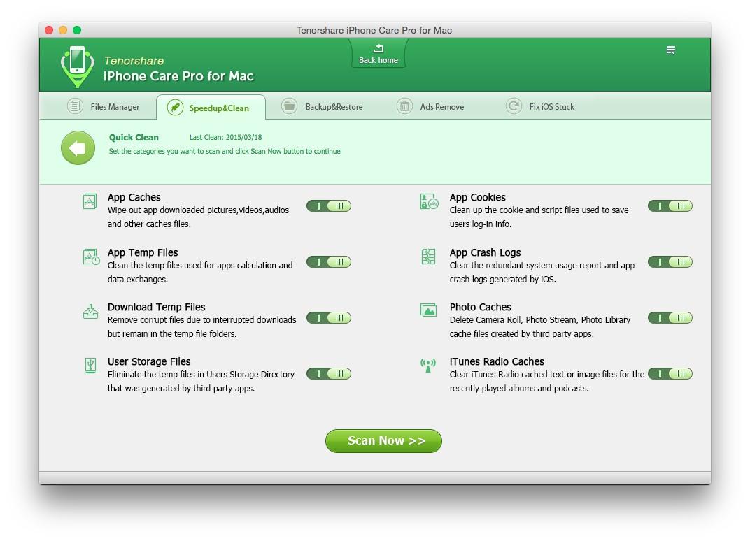 Tenorshare iPhone Care Pro - Liberare spazio e velocizzare il dispositivo