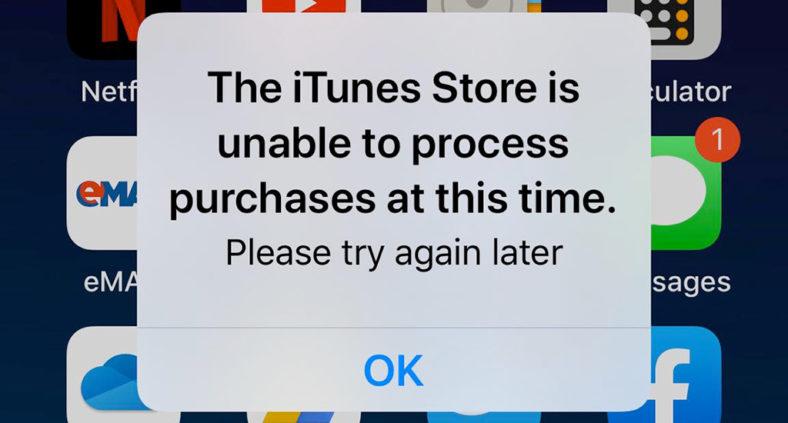 Problema: Al momento iTunes Store non è in grado di elaborare gli acquisti
