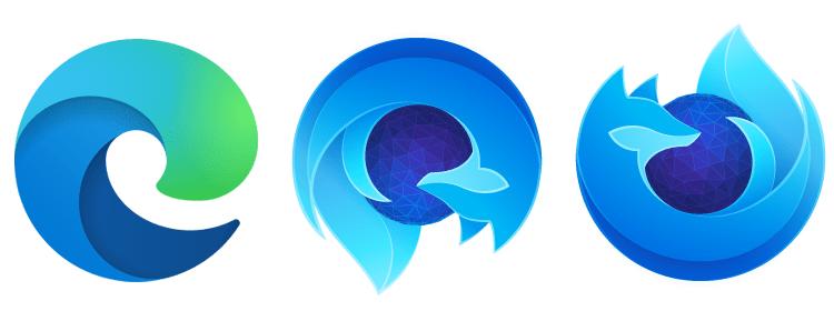 Il logo di Microsoft Edge vs il logo di Firefox Developer Edition