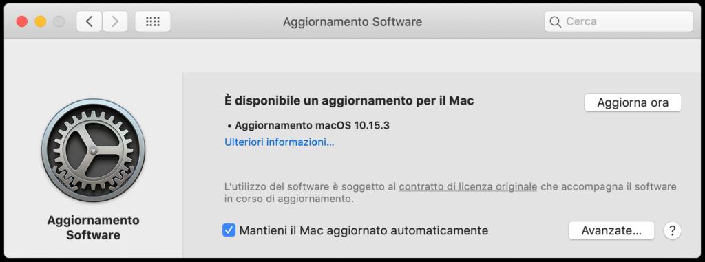 Aggiornamento Software - macOS Catalina 10.15.3