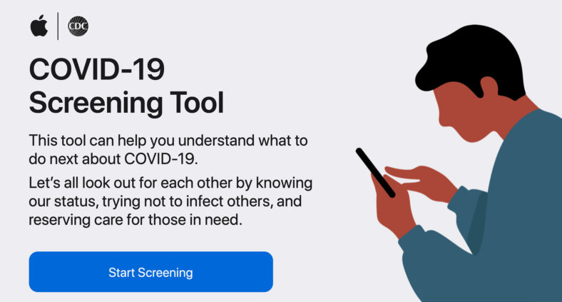 Apple lancia un'app ed un sito per lo screening online del COVID 19